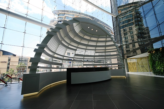 3-Dimentional Interior Screen in Artrium on Fifth that houses the reception in the Sandton City office Towers
