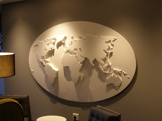 Decolite Lightweight 3-D Decorative Interior Detailing used to create this 3-D Map on the feature Wall